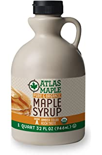 Atlas Maple Organic Maple Syrup, 100% Pure Grade A, Amber Color, Rich