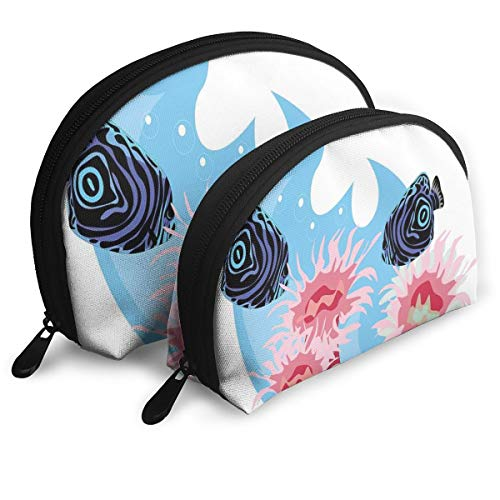 Shell Shape Makeup Bag Set Portable Purse Travel Cosmetic Pouch,Underwater Animals With Colorful Stripes Sea Creatures Illustration,Women Toiletry Clutch -