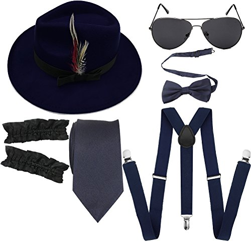 1920s Mens Manhattan Trilby Fedora Hat, Garters Armbands,Y-Back Suspenders & Pre Tied Bowtie, Gangster Sunglass (Navy Blue) (Bow Glasses With)