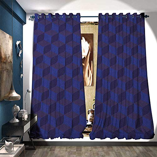 BlountDecor Room Darkening Wide Curtains 3D Print Like Geometrical Futuristic Inspired Shadow Boxes Cubes Image Print Patterned Drape for Glass Door W108 x L108 Dark Blue and Blue