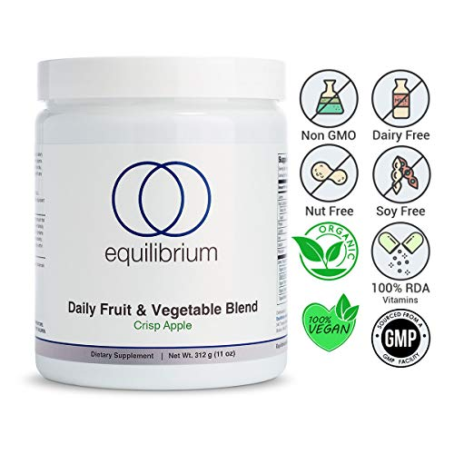 Equilibrium Nutrition Daily Fruit and Vegetable Blend Superfood Greens (Crisp Apple), 22 Certified Organic Fruits, Vegetables, and Superfoods. Paleo, Keto, Dairy Free, Wheat Barley Grass Powder 11 oz