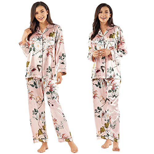 Womens Satin Silk Pajamas Top - GAESHOW Women's Satin Silk Pajamas Set Long Sleeve Button-Down Pj Set Sleepwear Nightwear Loungewear Two Piece Pj Sets