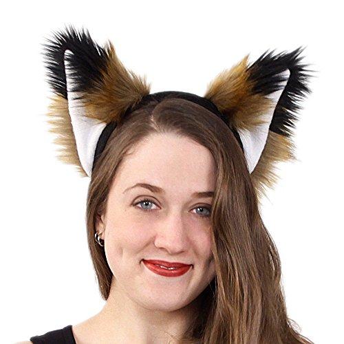 Pawstar Spicy Fox Furry Ear Headband Realistic Rust Tan Brown Costume - Pepper and Black