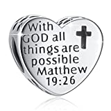 925 Sterling Silver ' With God All Things Are Possible' Heart Charms Fit European Snake Bracelets