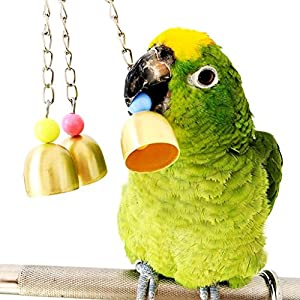 Mrli Pet Parrot Bell Toy, Bird Chew Toys with Stainless Steel Bells Which Hanging in Cage for Parrot Conure Cockatoo Macaw African Grey Amazon Budgie Parakeet Cockatiel Lovebird Finch Cage 8