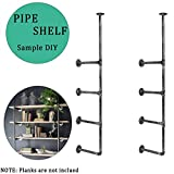 Industrial Retro Wall Mount Iron Pipe Shelf, Hung Bracket DIY Storage Shelving Open Bookshelf for Vintage Vertical for Living Room, Bedroom Office Space. (2pcs)