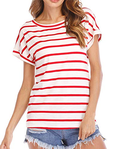 (Hioinieiy Womens Summer Casual Striped T Shirts Crew Neck Short Sleeve Tops Women's Petite Plus Size Tees for Women Ladies Juniors Teens Red and White)