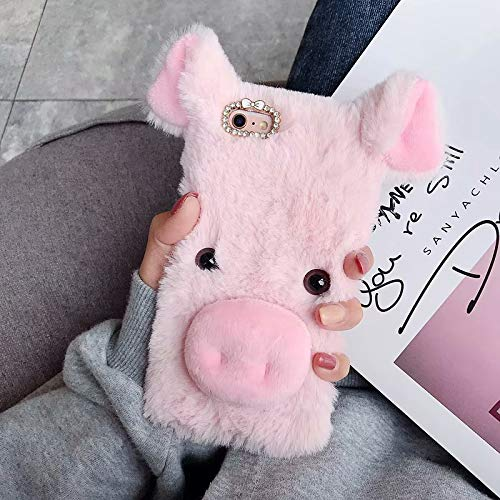 for iPod Touch 5/6/7 Case, QKKE Colorful Fuzzy Winter Fur Warm Plush Fluffy Fur Soft TPU Case Cute Luxury Comfy Faux Fur Case Stripe Stitching Colour Protective Cover (Pig/Pink) (Pig Ipod 4 Case)
