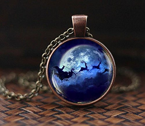Christmas Necklace, Santa Pendant, Blue Moon Santa Deer, Santa Claus Pendant, Christmas Jewelry, Christmas gift, Full Moon pendant