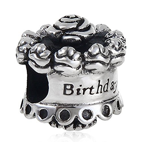 Rose Birthday Cake Charm 925 Sterling Silver Flower Cake Charm fit for diy Charms (Silver Rose Flower Charm)