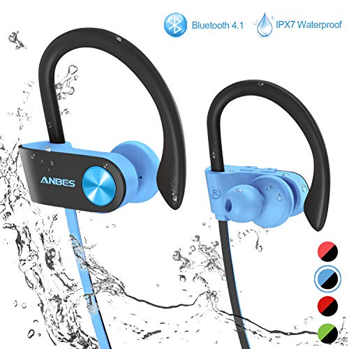 Bluetooth Headphones, ANBES IPX7 Waterproof Wireless Earbuds, Sports Earbuds with Ear Hooks & Mic, HD Stereo Sound in-Ear Bluetooth Earbuds, Up to 8 Hours Playing Time Gym Running ()