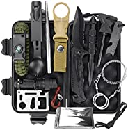 BestFire Survival Gear and Equipment, 13 in 1 Professional Survival Kit, Camping Hunting Gear Tools, First Aid