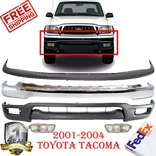 New Front Bumper Chrome Filler Lower Valance Air Deflector Signal Lamp Left & Right Hand Side For 2001-2004 Toyota Tacoma Direct Replacement Set of 5 TO1095196 TO1087112 TO1002174 TO2531140 TO2530140 ()