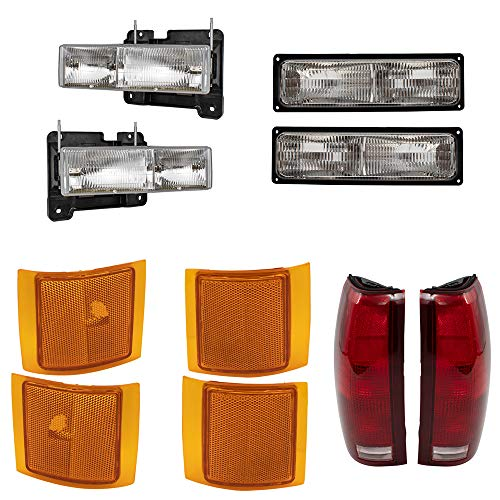 BROCK 10 Piece Set Headlights, Tail Lights with Connector Plate and Signal Marker Lights Replacement for 1994-1999 Chevrolet C/K Pickup Truck Suburban 1995-1999 Tahoe