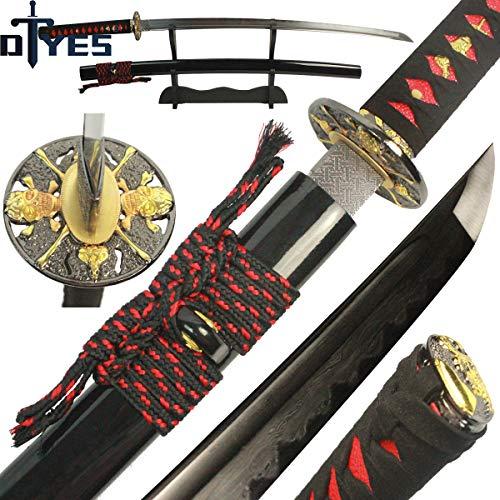 - DTYES Japanese Samurai Katana Sword/Japanese Sword Customization, (1060 Carbon Steel Blade-Classic Golden Tsuba) ((Original Katana) Damascus Steel Clay Tempered Blade-Skull Tsuba 2)