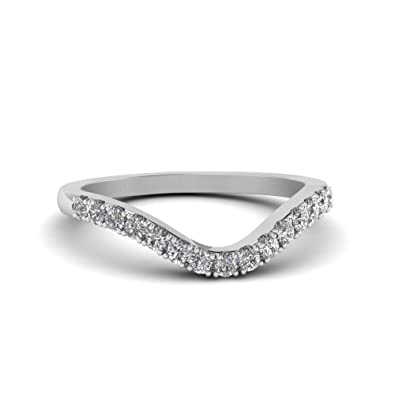 Custom Wedding Bands.Tusakha Curved Delicate Cz Diamond Band Custom Wedding Ring With White Sapphire 14k White Gold Plated
