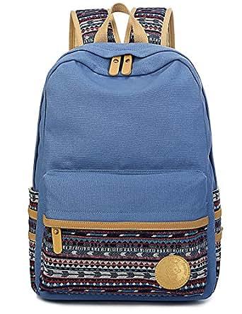 Leaper Casual Style Lightweight Canvas Laptop Bag Cute Backpack Shoulder Bag School Backpack Travel Bag (Light Blue A3)