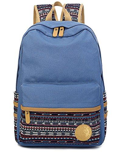 Leaper Casual Style Lightweight Canvas Laptop Bag Cute Backpack Shoulder Bag School Backpack Travel Bag (Light Blue A3) ()