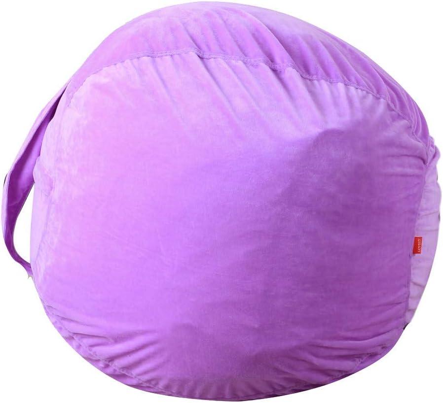 Purple Kids Stuffed Animal Plush Toy Storage Bean Bag Soft Pouch Stripe Fabric Chair Housekeeping /& Organizers Fineday A Storage