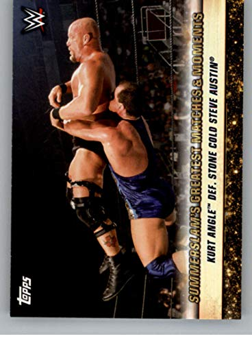 2019 Topps WWE SummerSlam Greatest Matches and Moments Wrestling #GM-20 8/19/01 Kurt Angle def. Stone Cold Steve Austin Official Wrestling Trading Card From Topps