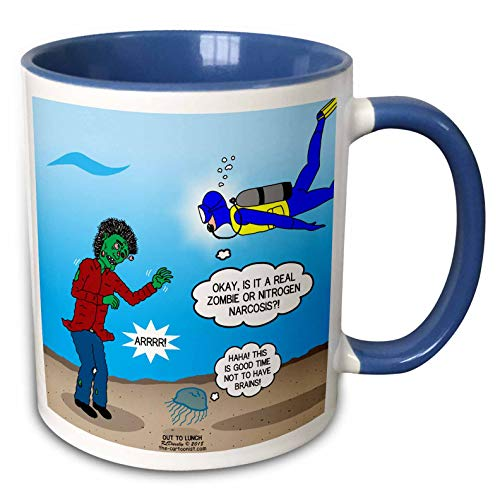 (3dRose Rich Diesslins Funny Out to Lunch Cartoons - Underwater Zombie or SCUBA Diver Nitrogen Narcosis - 15oz Two-Tone Blue Mug)