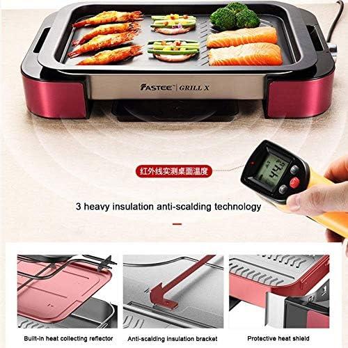 Barbecue électrique 1000 W Table de cuisson Rotating Plateau Grill, revêtement Teflon facile à nettoyer les grilles de barbecue WKY