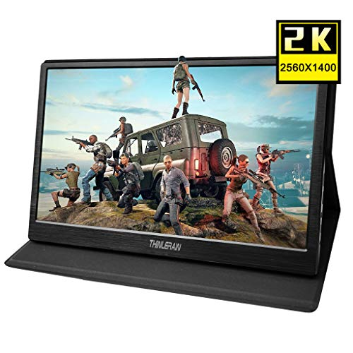 Thinlerain 13.3 Inch Portable 2K Gaming Monitor with HDMI, 2560 x 1440 IPS LED Screen USB Powered Monitor for Raspberry pi 3 b PS3 PS4 Windows 7 8 10 Double HDMI, USB Powered, Built in Speaker