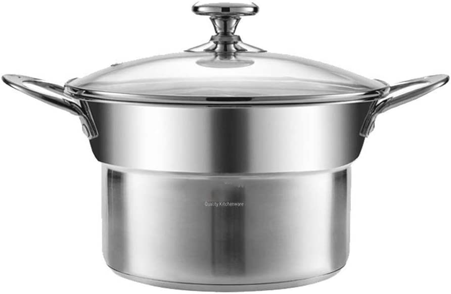 Ygqzg Stainless Steel Steamer Premium Heavy Duty Stainless Steel Steamer Pot Set Includes 2 Quart Steamer Insert and Vented Glass