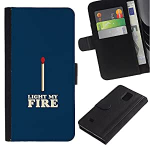 EuroTech - Samsung Galaxy Note 4 SM-N910 - Match Blue White Fire Love Valentines - Cuero PU Delgado caso Billetera cubierta Shell Armor Funda Case Cover Wallet Credit Card
