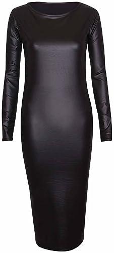Purple Hanger – donna Bodycon paccs vestito a maniche lunghe girocollo grande effetto lucido bagnato PU