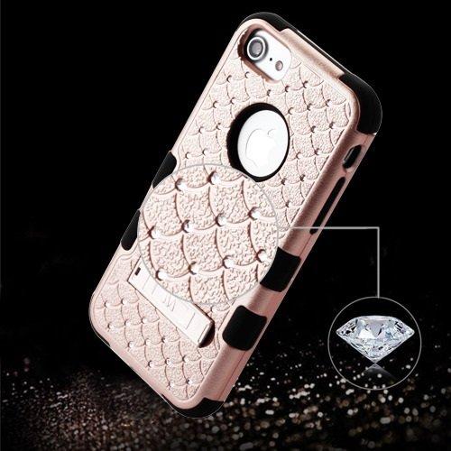 ShopAegis - [HYBRID RHINESTONE] [Rose Gold/Black] Sparkle Web Pattern Shockproof Armor Phone Cover Case for Apple iPhone 8/7 by ShopAegis (Image #4)