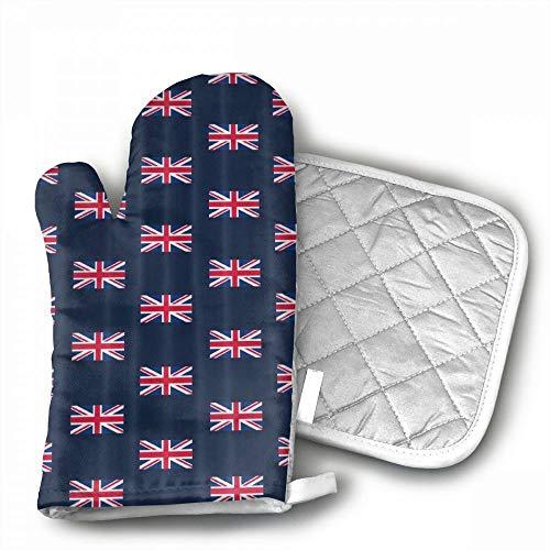 UK Flag Union Jack Oven Mitts,Professional Heat Resistant Mi