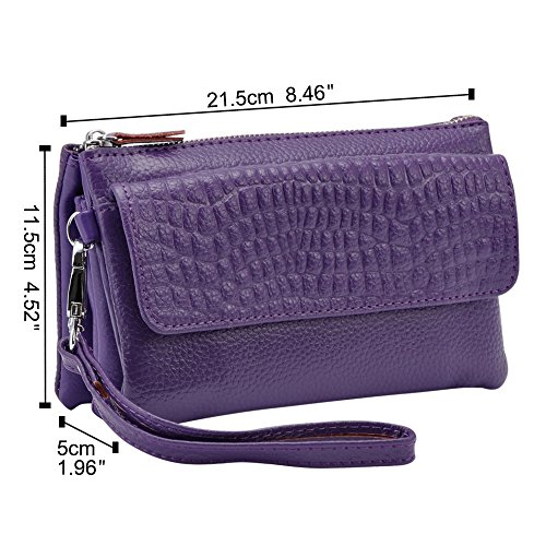 Purple Wiwsi Red Card Purse Fashion Lady Phone Handbag Leather New Women Zipper Wallet Long ZqZAO