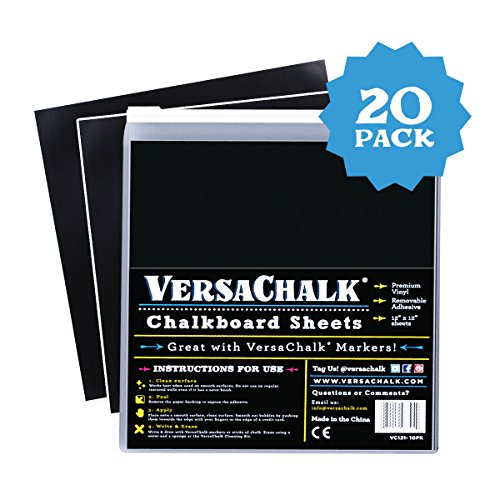 VersaChalk Vinyl Chalkboard Sheets 12 x 12-inch Pack of 20 - Vinyl Chalkboard Sheets for Cricut, Xyron, Pazzles, Silhouette, Robo Craft, Decals, Printers, Stickers, Banners, Signs. for $<!--$14.99-->