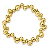 Sterling Silver Gold-Toned Beaded Magnetic Clasp Bracelet 7''