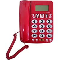 LeeKerTel Large Button Corded Phone with Caller ID Speed Dial Picture Phones for Seniors(Red, P029R)