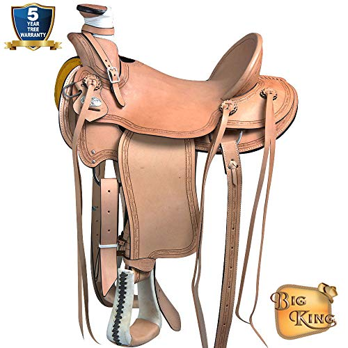 HILASON 15 in Western Horse Wade Saddle Leather Ranch Roping Tan from HILASON