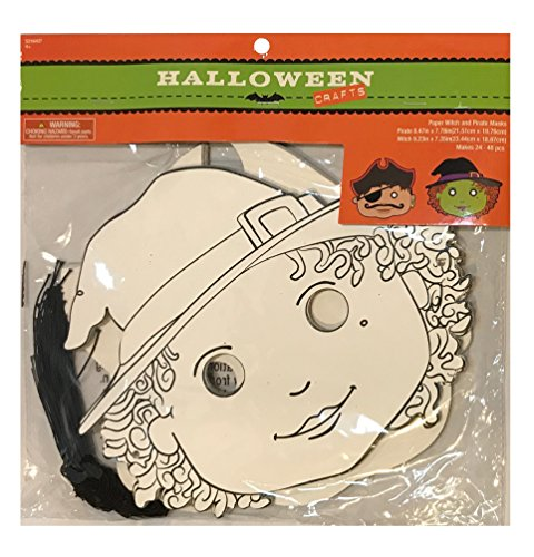 Foam Masks - For All Ages, Party, Halloween, Dress-Up, Costume With Elastic Strap ((Paper) Color Your Own, Witch and Pirate - Set of 24) (Halloween Costumes Make Your Own Easy)