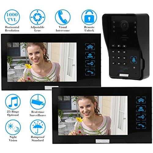 "KKmoon 7"" Video Door Phone Intercome Doorbell Touch Button ID Cards/Code Unlock Night Vision Rainproof Security CCTV Camera Home Surveillance TP02S-12"