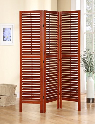 3 Panel Shutter - Legacy Decor 3 Panel Solid Wood Screen Room Divider with Full Length Shutters, Walnut