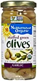 Organic Green Olives Stuffed with Garlic - 8.5 oz