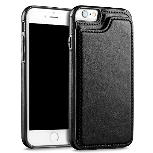 UEEBAI Case for iPhone 5 5S SE, Luxury PU Leather Case with [Two Magnetic Clasp] [Card Slots] Stand Function Durable Soft TPU Case Back Wallet Flip Cover for iPhone 5/5S/SE - Black