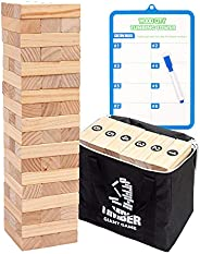 Giant Tumbling Timber Tower Game (Stacking from 2 to 4 Feet), WOOD CITY Classic Jumbo Outdoor Game for Adults