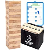 Giant Tumbling Timber Tower Game (Stacking from 2 to 4 Feet), WOOD CITY Classic Jumbo Outdoor Game for Adults Kids Family, 54 Pieces Premium Pine Wood Blocks Toy