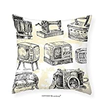 """VROSELV Custom Cotton Linen Pillowcase Vintage Old Sketchy House Stuff Iron Radio Camera Television Retro Image for Bedroom Living Room Dorm Black White and Charcoal Grey 18""""x18"""""""