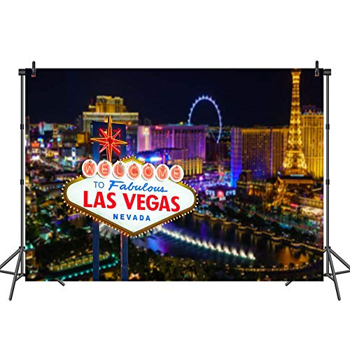 (Mehofoto Casino Backdrop Las Vegas City Photography Backdrops 7x5 Personalized Vegas Theme Birthday Photo Background for)