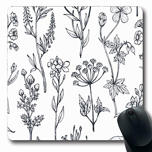 (Ahawoso Mousepads Cereal Botanical Pattern Herbs Nature Daisy Spring Outline Graphic Floral Design Garden Oblong Shape 7.9 x 9.5 Inches Non-Slip Gaming Mouse Pad Rubber Oblong)