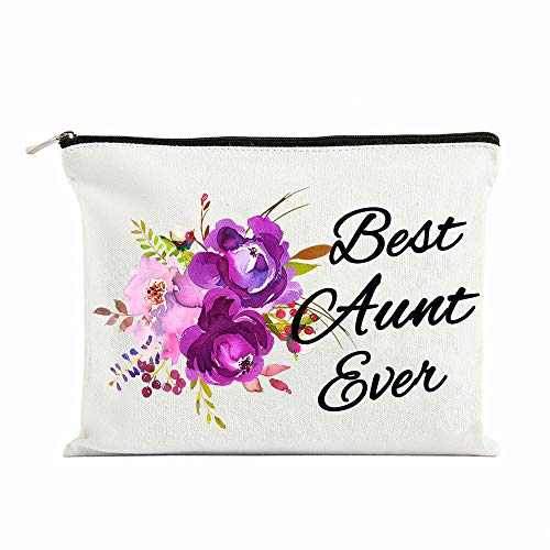 Aunt Gifts Best Aunt Ever Gifts Auntie gifts from Niece for Christmas Birthday Retirement Aunt Gifts from Nephew Purple Flower Cosmetic Bag