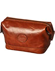 Leather Toiletry Bag for Men – Zippered Dopp Kit Organizer – Brown Travel Shaving Kit Case, by Bayfield Bags