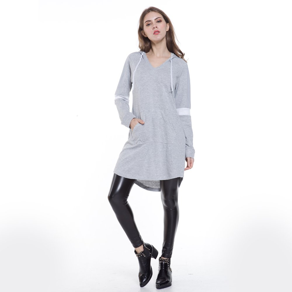 Eworldwing Spring Woman Mesh Sleeves Hoodies Dress V Neck Casual Arc Hem Cotton Sweatshirt (Gray, XXL) by Eworldwing (Image #3)